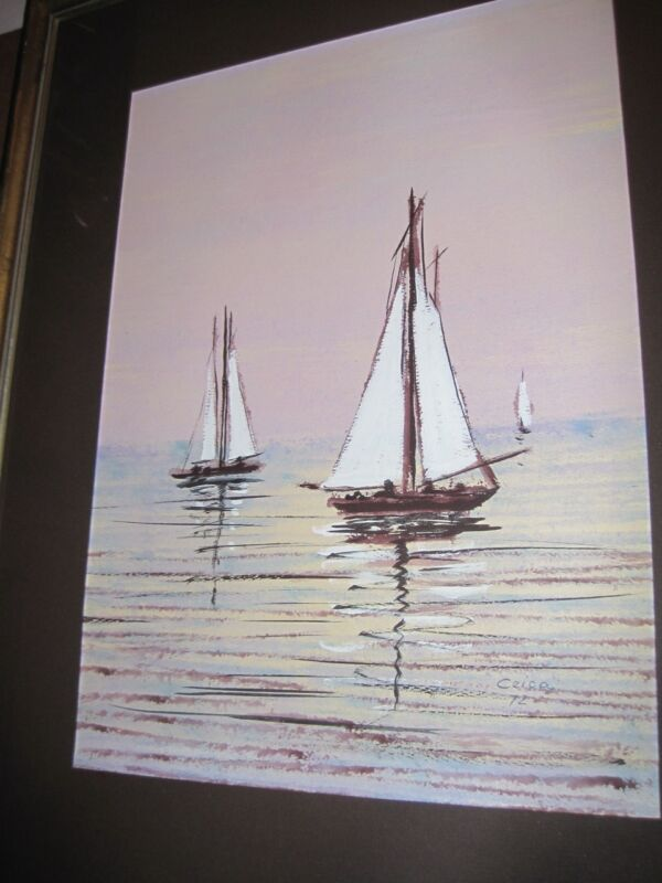Sailboats at Sunset Watercolor Gounache on Paper signed Maria Ceica Listed c1972