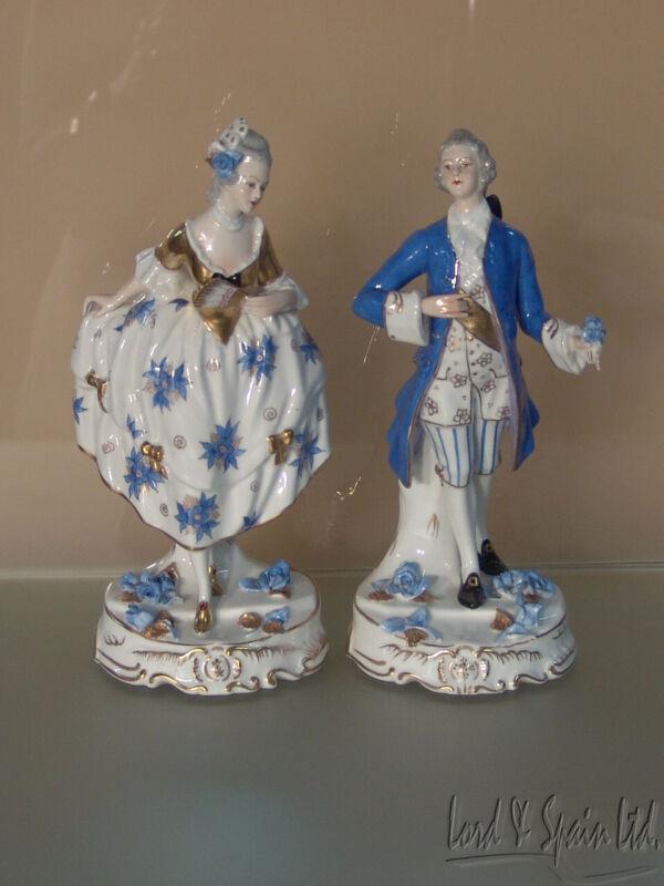 Vista Alegre Portugal Porcelain Blue/White/Gold Colonial Man & Woman Figurines