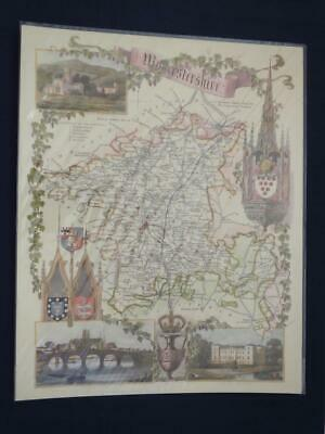 Reproduction Antique Map Worcestershire 16 x 20 inches.