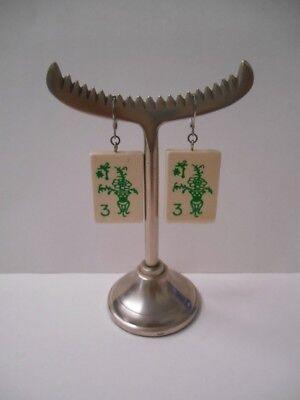 Mahjong Earrings (Hand Crafted by Me~(1) pair Lightweight Wooden Mah Jongg Tile Pierced)