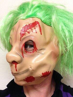 Zombie Troll Maske Blut Halloween 80's Grün Haar Trolle Handpuppe Zwerg Kostüm