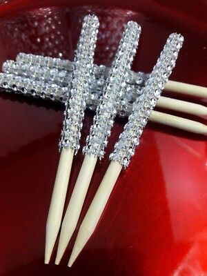 24 Silver or Gold Bling Candy Apple Sticks Gold Rhinestone Candy Apple Sticks - Gold Candy Apples