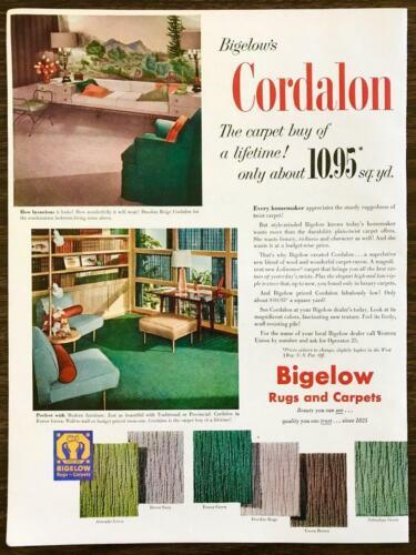 1952 Bigelow Cordalon Rugs Carpets PRINT AD Luxurious Perfect w Modern Furniture