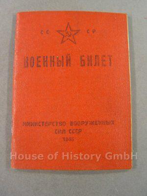 3004, Wehrdienstausweis (altes Muster) mit diversen Eintragungen, CCCP Russland