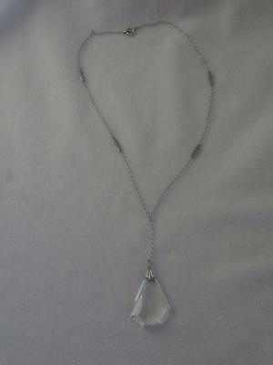 ART DECO STERLING SILVER LINK DROP CHAIN & FACETED CRYSTAL PENDANT NECKLACE