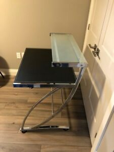 Glass, metal desk