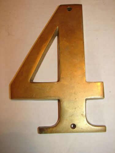 """Vintage Brass Crafters Taiwan Number 4 - LARGE 7"""" x 5"""" - Heavy"""