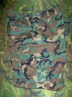 US Army Hot Weather BDU Ripstop Pants Trousers Camo Woodland Large -