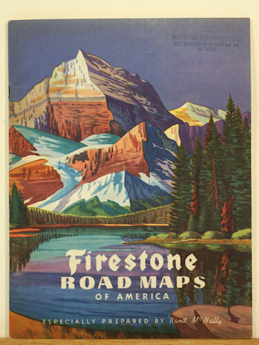 Firestone Road Maps of America 1946 Rand McNally Rocky Mountains Tires Service