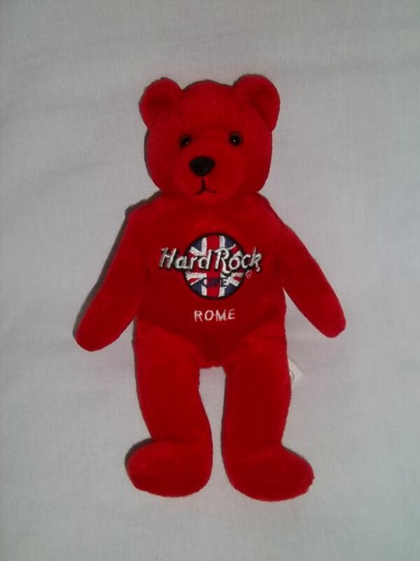 HARD ROCK CAFE ROME Plush RITA BEARA BEAN BAG Red Bear Stuffed Animal Toy