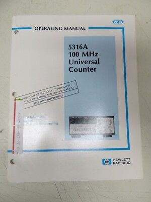 Hp 5316a 100mhz Universal Counter Operating Manual