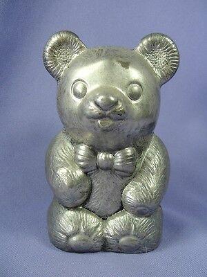 Metal Teddy Bear Bank Silverplate Bow Tie by Leonard 5