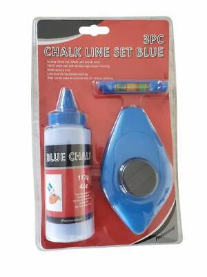 Chalk Line Reel Level and Powder Chalk Set (BLUE -