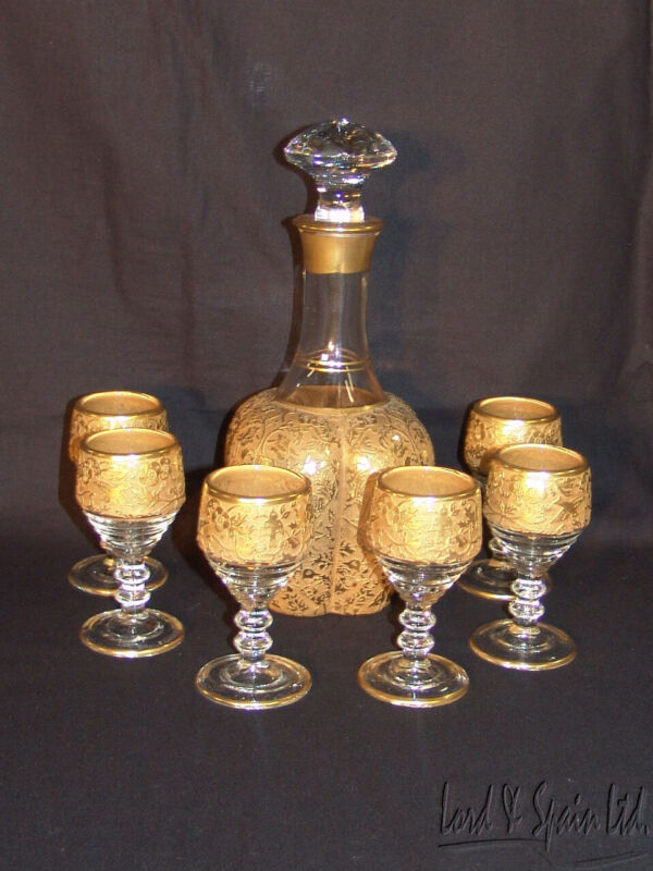 Paden City Gold Encrusted SPRING ORCHARD GOLD Decanter & 6 Glasses