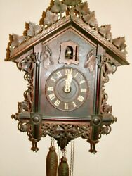 Exquisitely Carved  Antique All Original German Cuckoo Clock 1880