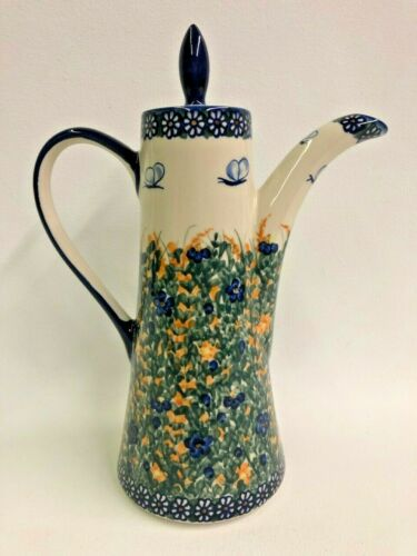 "Unikat Polish Pottery Teapot WR Lid Spout Handle 12"" Flowers Blue Yellow Signed"