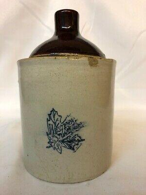 Vintage Western Stoneware 1 Gallon Whiskey Moonshine Jug Cobalt Maple Leaf Logo