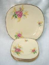 Art Deco Alfred Meakin Cake set Scarce roses & wattle pattern Kingswood Penrith Area Preview