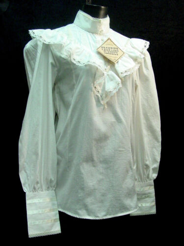 Cotton Blouse Victorian Vintage style Ivory Clara Frontier S-3XL free brooch inc