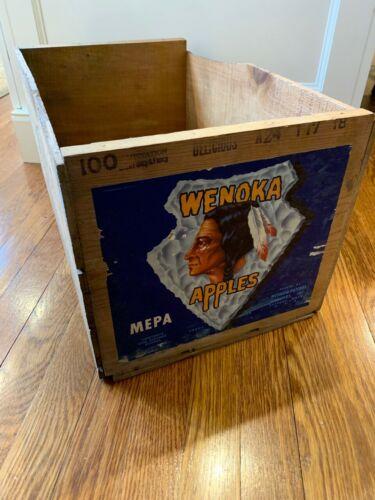Antique 1927 Wenoka Apples Washington Wooden Box Crate