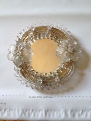 Small Murano Glass Frame Mirror Clear Flowers Venetian