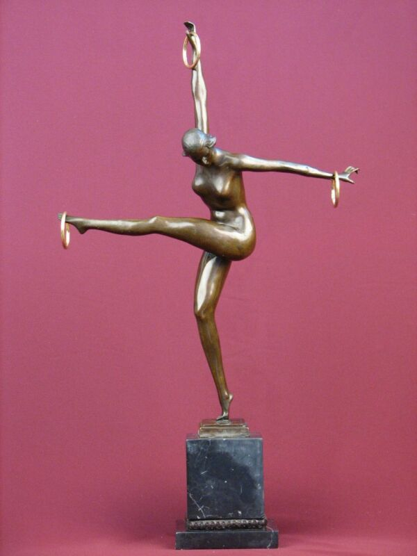 """23""""SIGNED BRONZE STATUE GYMNAST ART DECO NUDE  SCULPTURE ON MARBLE BASE"""