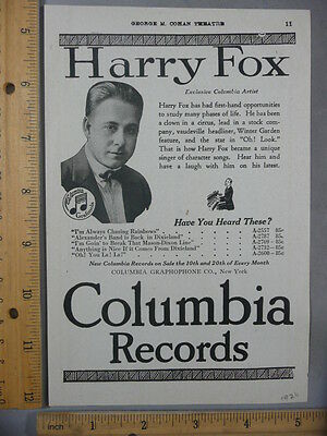 Rare OrigVTG 1920 Harry Fox Columbia Records Mens Fashions Advertising Art Print