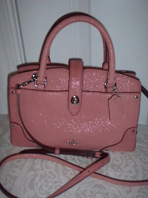 NWT Coach Grain Leather Glitter Rose Mercer 24 Handbag Satchel Crossbody 12091