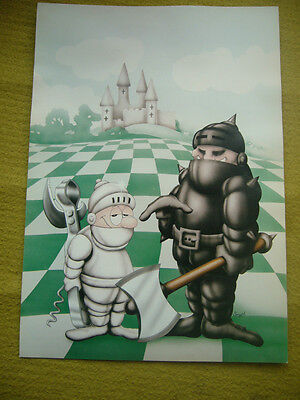Vintage Chess Poster 'Chess In Armour'' - Smyth c.1970's Cartoon Good Con
