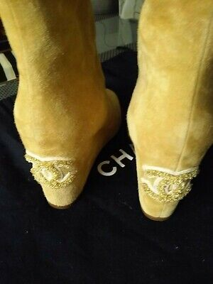 AUTHENTIC CHANEL OPEN TOE  BEIGE SUEDE SHOES ANKLE BOOTS  WEDGES CC LOGO  SZ39 (Open-toe Wedge Boot)