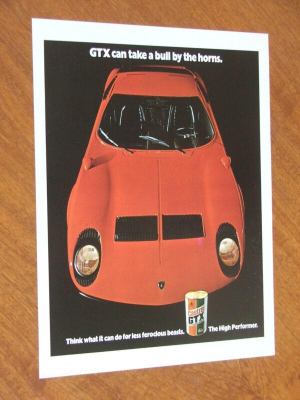 1971 Castrol GTX Lamborghini Miura original UK full page advertisement