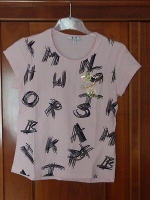 T-Shirt, rose / bunt, mit Buchstaben + Pailletten, Kurzarm, 95% Baumwolle, Gr.36