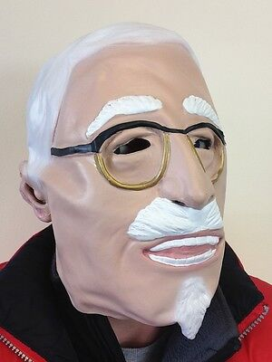Alter Mann Saunders Kentucky Huhn Maske The Colonel TV Latex Kostüm Zubehör