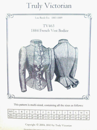 Truly Victorian TV463 sewing Pattern for 1883-1889 French Vest Bodice Blouse