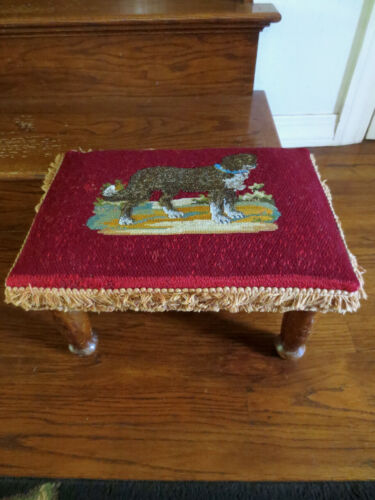 RARE Antique Beaded Foot Stool Victorian Dog 1910s Needlepoint Glass Embroidery