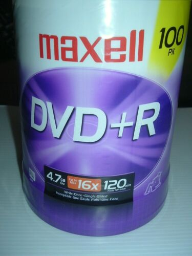Maxell 100pk DVD + R 4.7 GB Go up to 16x 120 min mode SP Mode Up to 4 Hrs New