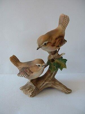 Lovely MARURI Porcelain Bird Figurine  -  Double Wren