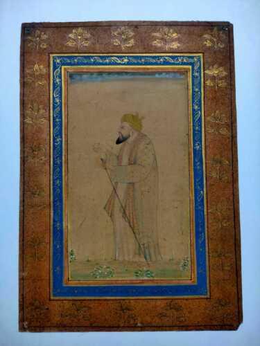 antique islamic Mughal handmade painting on paper by artist Amjad Ali Khan 19thC