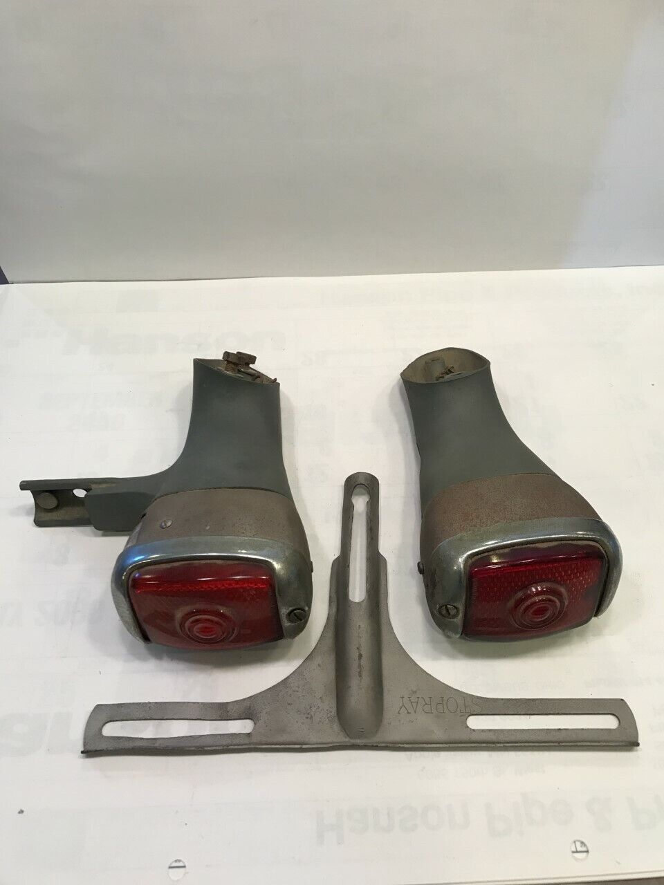 1937 1938 Chevrolet Tail Lights With Stands and License Plate Bracket
