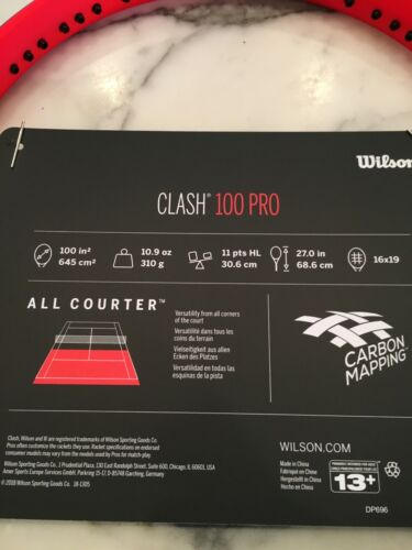 NEW Wilson Clash 100 Professional Tennis Racquet Grip Size 4 1/2 free shipping