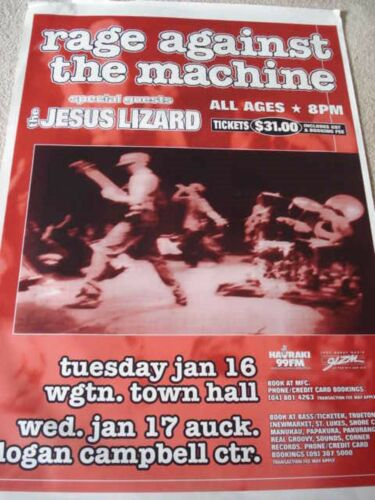 RAGE AGAINST THE MACHINE/JESUS LIZARD GIANT 1996 NEW ZEALAND CONCERT TOUR POSTER