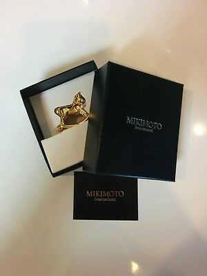 MIKIMOTO Pearl Message card letter photo Stand Swing Horse motif Gold-tin alloy