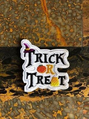 1 Trick or Treat Pumpkin Halloween Iron Sew On Patch 2.75