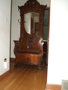 Antique Oak Hall Tree with umbrella stand. Spectacular