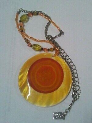Used, Designer Signed You and I Bohemian Abalone Shell Orange Pendant Beaded Necklace for sale  Selma