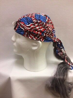 Assorted Doo Rag Bandana with grey synthetic hair fun hat Comeaux Caps Halloween](Halloween Hats With Hair)