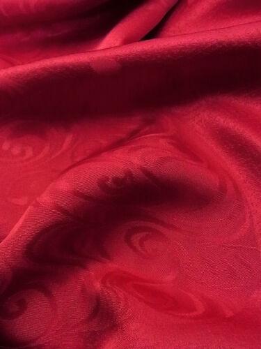 "Unused Japanese Kimono Fabric 56""_Silk,Red,Mon-isho,Flowing water,,#nr100-c"