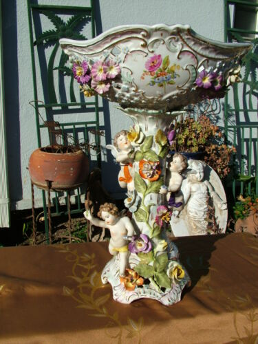 "LARGE 16 1/2"" DRESDEN  WINGED CHERUBS WITH  PORCELAIN FLOWERS FOOTED COMPOTE"