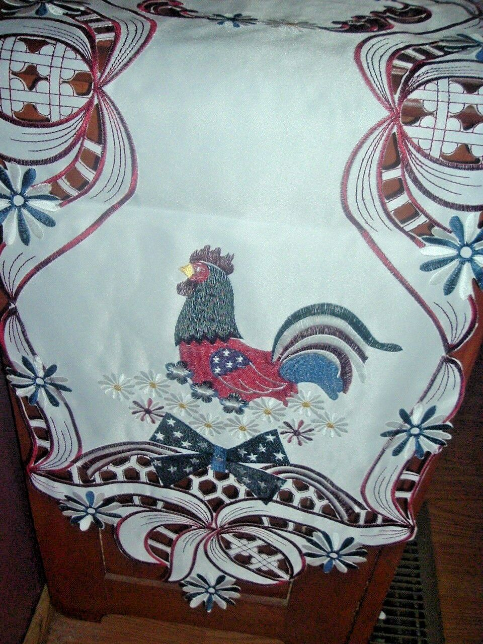 patriotic rooster cutwork table runner july 4th red white blue fs