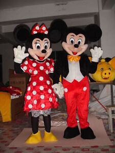 MICKEY AND MINNIE MOUSE ADULT MASCOT COSTUME HIRE-DELIVERED ANY WHERE IN THE UK